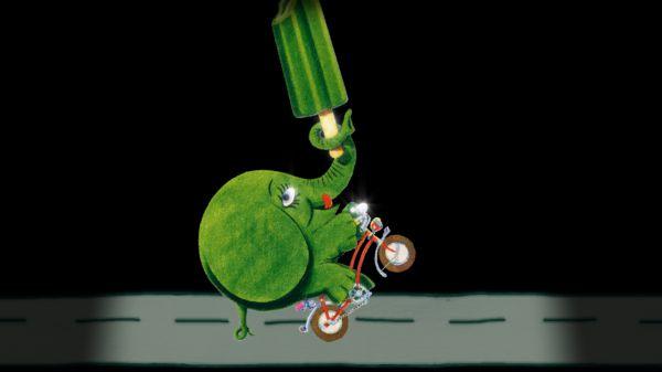 So fährt der Grünofant Wheelie.